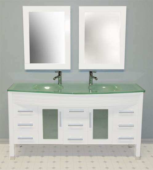 Cambridge 63 inch White Double Sink Vanity Set