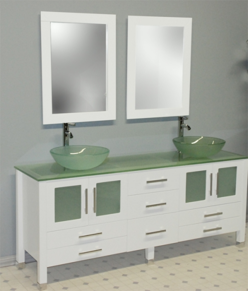 Cambridge White Glass Double Sink Bathroom Vanity