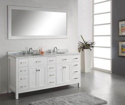 Virtu USA Aveline 72  Bathroom Vanity White