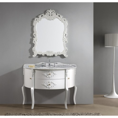 "Abigail Virtu USA 48"" White Antique Bathroom Vanity"