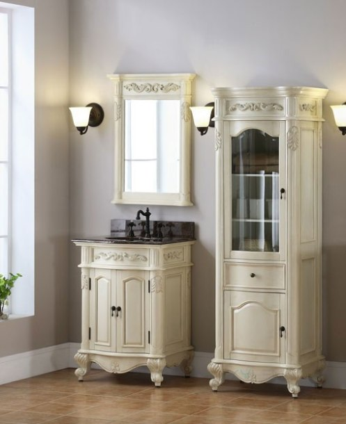 Xylem Windsor Antique Bisque White Bath Vanity
