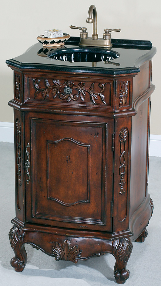 Walnut Antique Small Bathroom Vanity