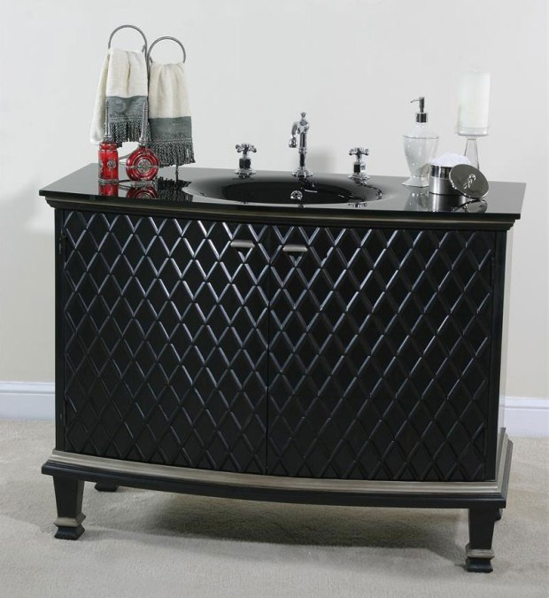 Ebony Diamond Bathroom Vanity Black Finish