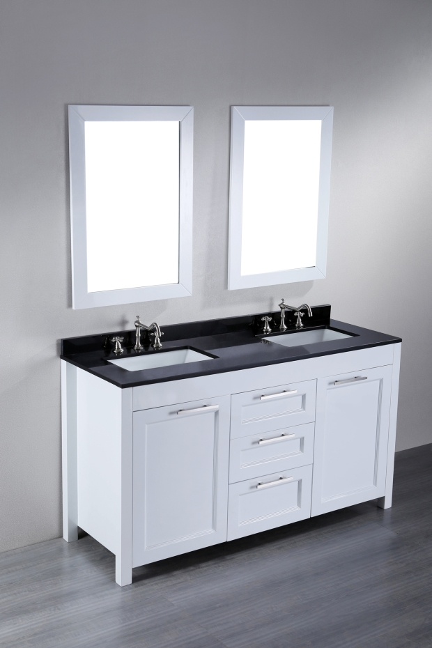 Bosconi Contemporary White Bathroom Vanity