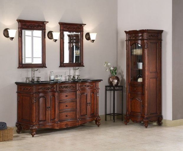 Windsor 60 inch Antique Cherry Double Sink Vanity