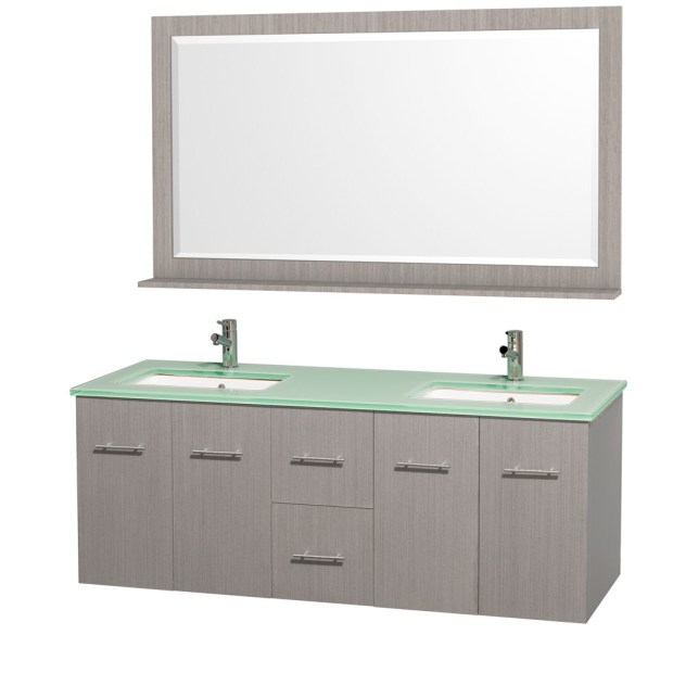 Centra 60 inch Gray Oak Double Bathroom Vanity Set