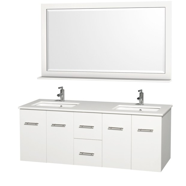 "Centra 60"" White Double Bathroom Vanity Set"