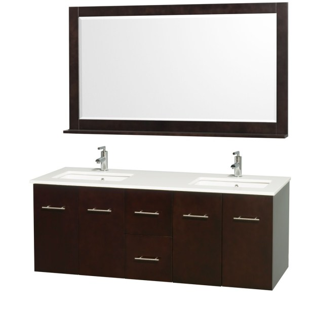 "Centra 60"" Espresso Double Bathroom Vanity Set"