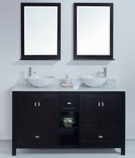 Dakota 60 inch Contemporary Double Sink Vanity Carrera Marble Top