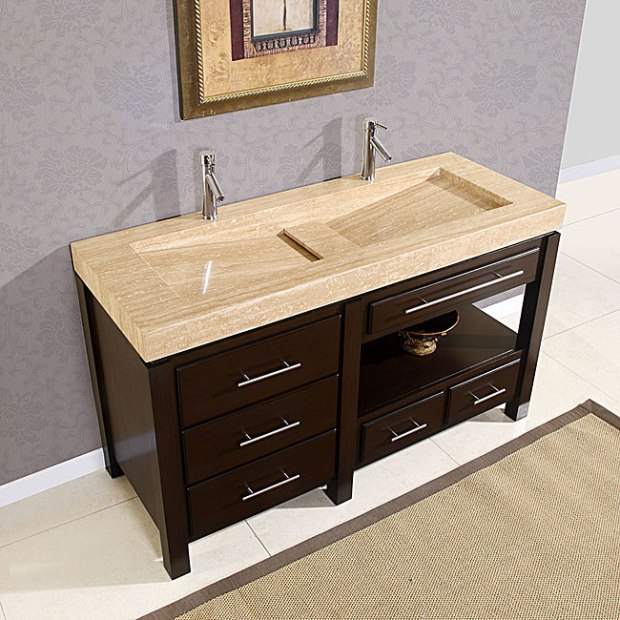 Silkroad 60 inch Double Bathroom Vanity