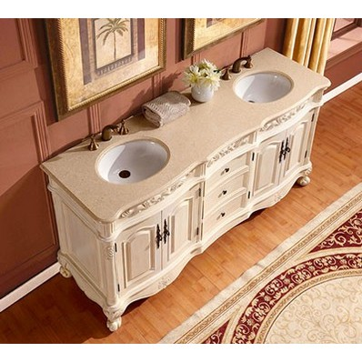 Silkroad 72 inch Antique White Double Bathroom Vanity