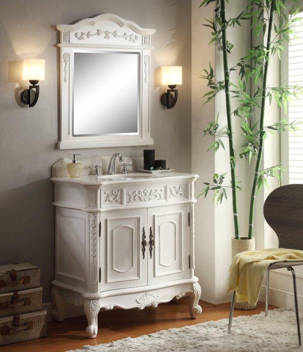 Adelina Antique Bathroom Vanity White Marble Top