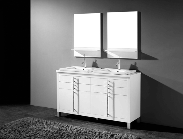 Adornus Turin White Double Sink Bathroom Vanity