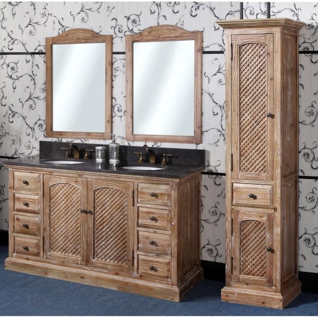 Antique Rustic Bathroom Vanity Natural Oak Finish