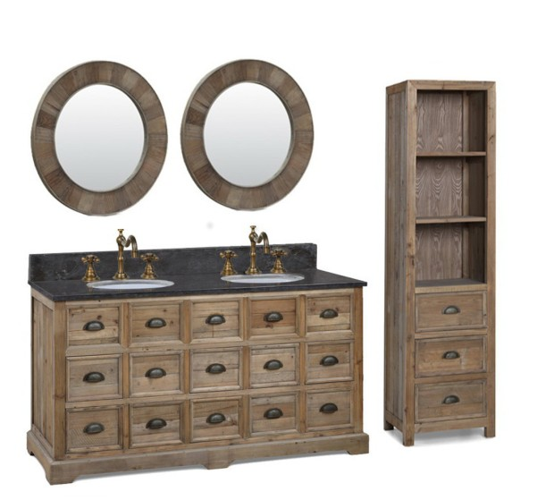 Abel 60 inch Double Sink Distressed Bathroom Vanity