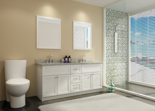 "Ace 73"" Double Sink Bathroom Vanity Set White Finish"