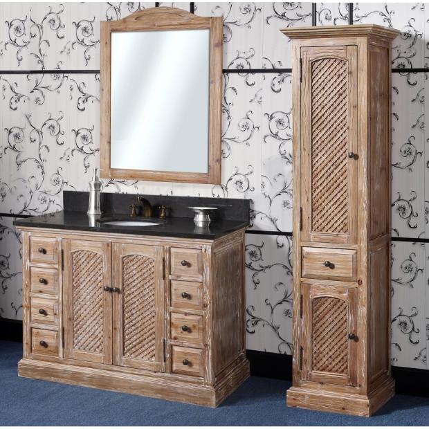 Abel 48 inch Rustic Single Sink Bathroom Vanity Natural Oak Finish