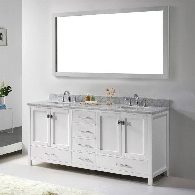 Abodo 72 inch Transitional Bathroom Vanity White Finish Set