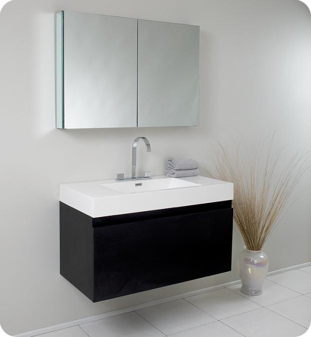 Aurora Mezzo 39 inch Black Modern Bathroom Vanity