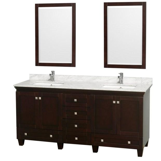 """Accmilan 72"""" Espresso Double Bathroom Vanity Set"""