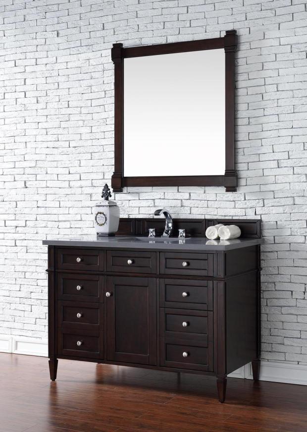 Contemporary 48 inch Single Bathroom Vanity Mahogany Finish No Top