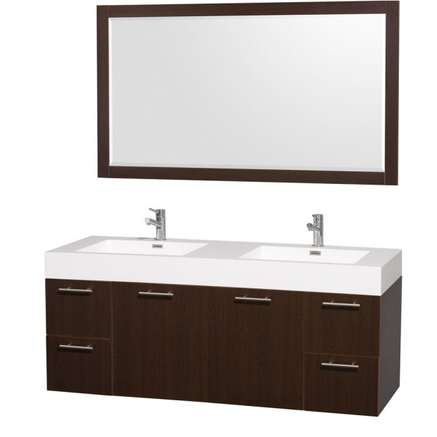 "Amata 60"" Espresso Wall Mounted Bathroom Vanity Set"