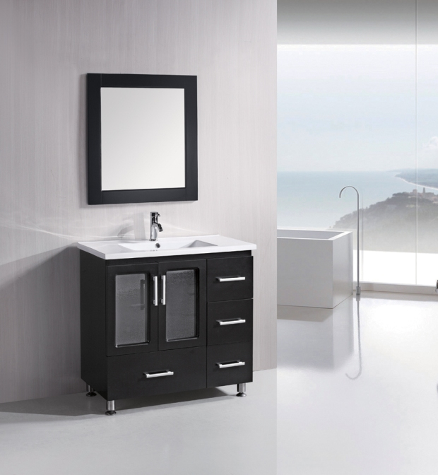 36 inch Contemporary Bathroom Vanity Solid Wood Construction Set