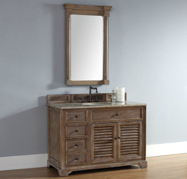 48 inch Driftwood Finish Single Cottage Bathroom Vanity