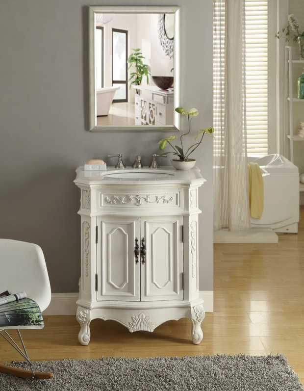 Adelina 27 inch Antique Bathroom Vanity White Wood Finish