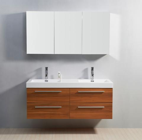 54 inch Double Sink Wall Mounted Bathroom Vanity Plum Finish