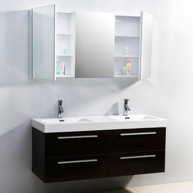54 inch Double Sink Wall Mounted Bathroom Vanity