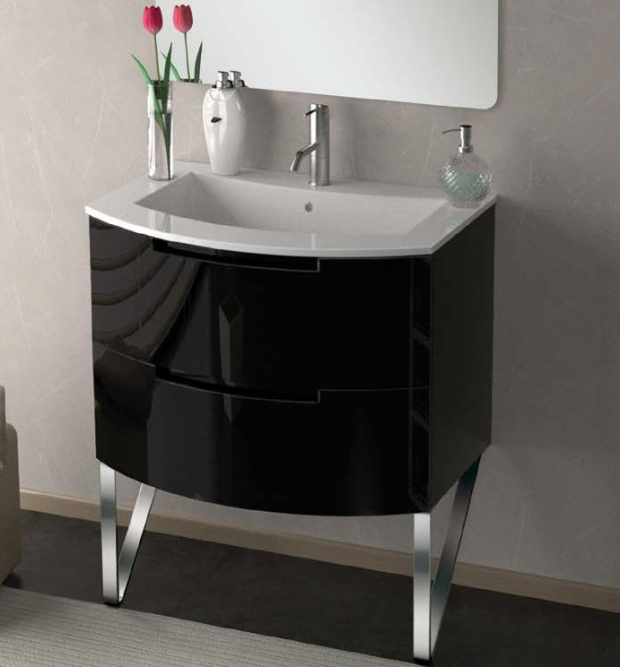 29 inch Modern Floating Bathroom Vanity Black Glossy Finish