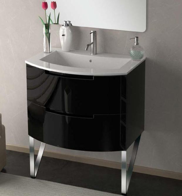 29 inch Modern Floating Bathroom Vanity Black Glossy Finish