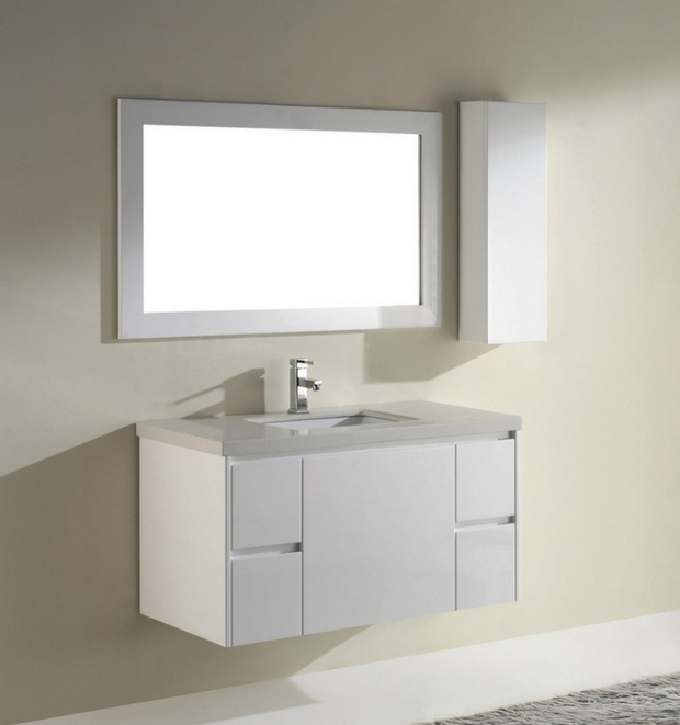 42 inch Modern High Gloss White Floating Bathroom Vanity