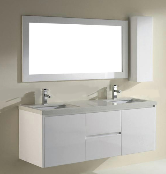 63 inch High Gloss White Floating Bathroom Vanity with Quartz Countertop
