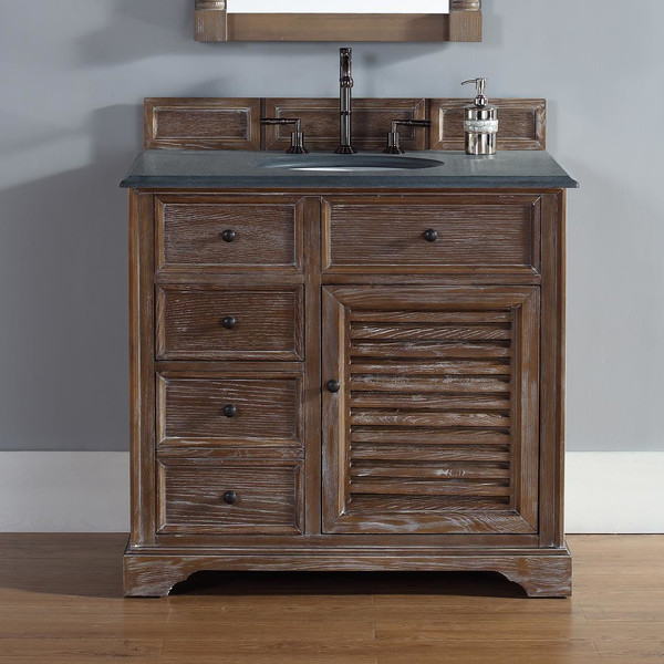 36 inch Bathroom Vanity Driftwood Finish, Black Rustic Granite Top
