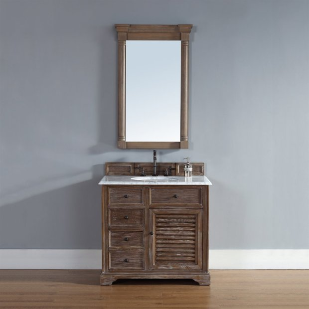 36 inch Bathroom Vanity in Driftwood Finish Marble Top