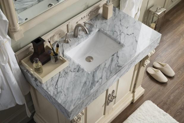 42 inch Bathroom Vanity Carrara White Marble Top