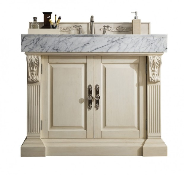42 inch Single Bathroom Vanity Vintage Vanilla Finish Carrara White Marble Top