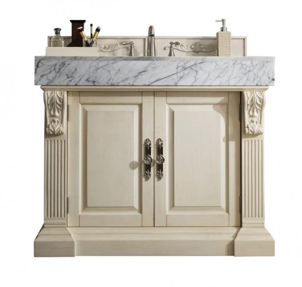 42 inch Single Bathroom Vanity Vintage Vanilla Finish Carrara White Marble Top