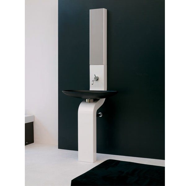 24 inch Modern Column Bathroom Vanity Black Finish Made in Italy