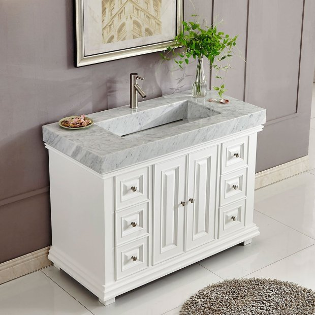 48 inch White Finish Contemporary Bathroom Vanity